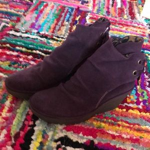 Eggplant Suede Ankle boots